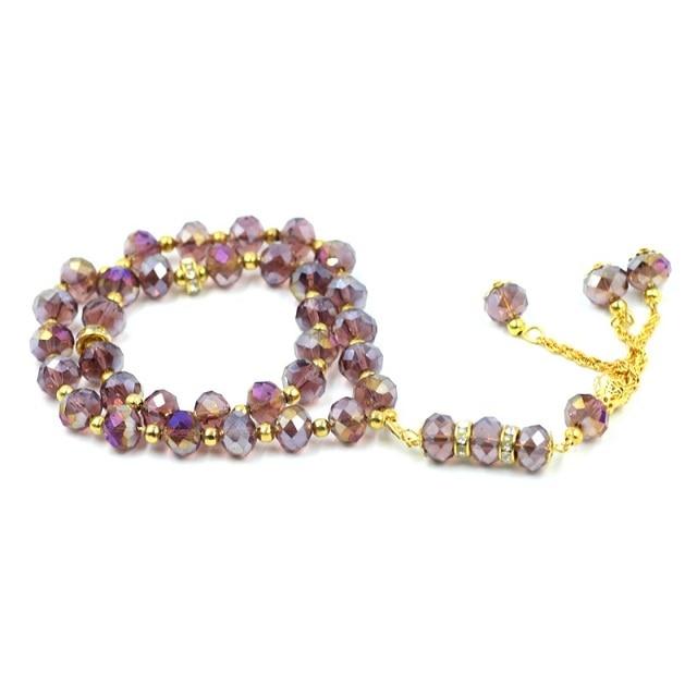 Islamic crystal prayer beads muslim necklace with plated color islamic crystal prayer beads muslim necklace with plated color collar pendant rondelle glass bead for diy aloadofball Choice Image