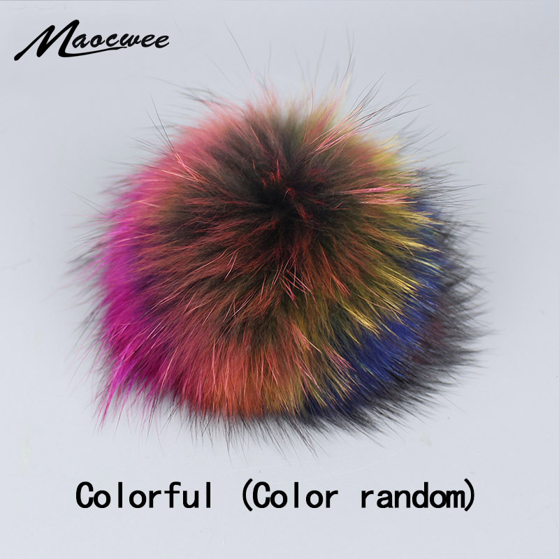 Genuine Real Raccoon Fur   Skullies   Pompom Fur Fox Pom Poms for Women Kids   Beanie   Hats Caps Big Size Natural Ball For Shoes Caps