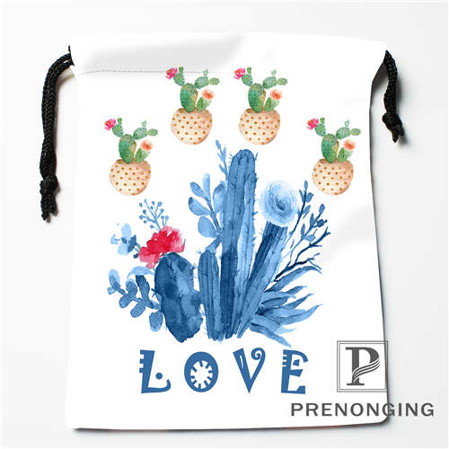 Custom Cartoon Cactus Drawstring Bags Printing Fashion Travel Storage Mini Pouch Swim Hiking Toy Bag Size 18x22cm #171203@2-03