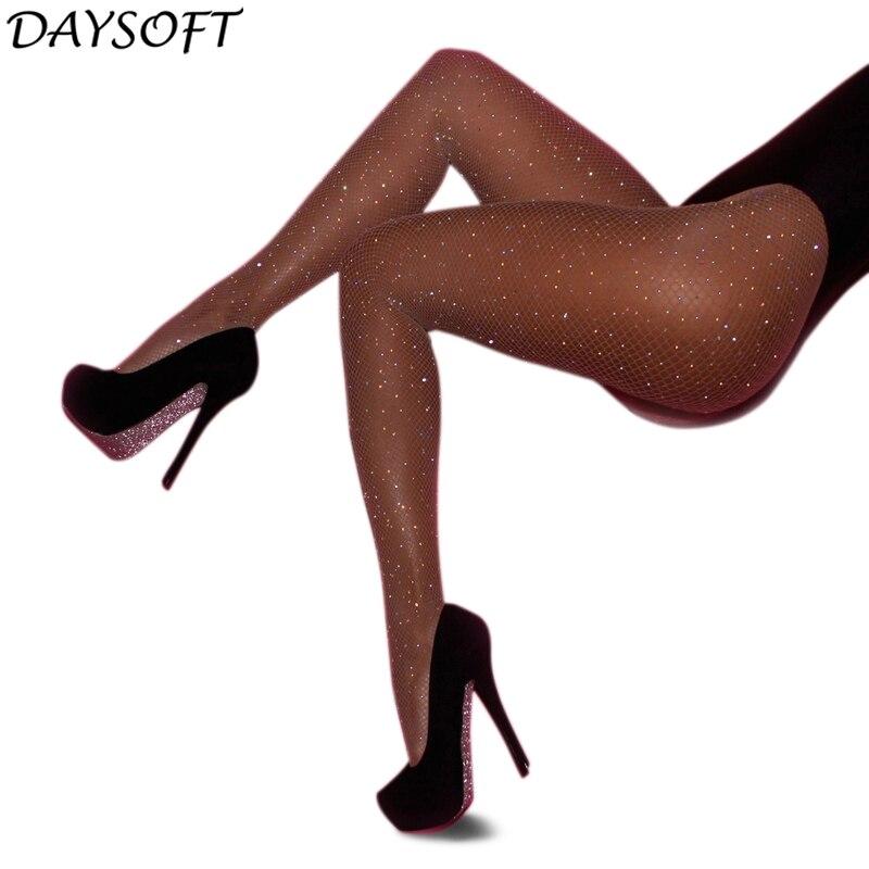 DAYSOFT Shiny Rhinestone Mesh Fishnet Pantyhose Summer Black Women Sexy Tights Slim Fishnet Tights Stockings Party Club Hosiery