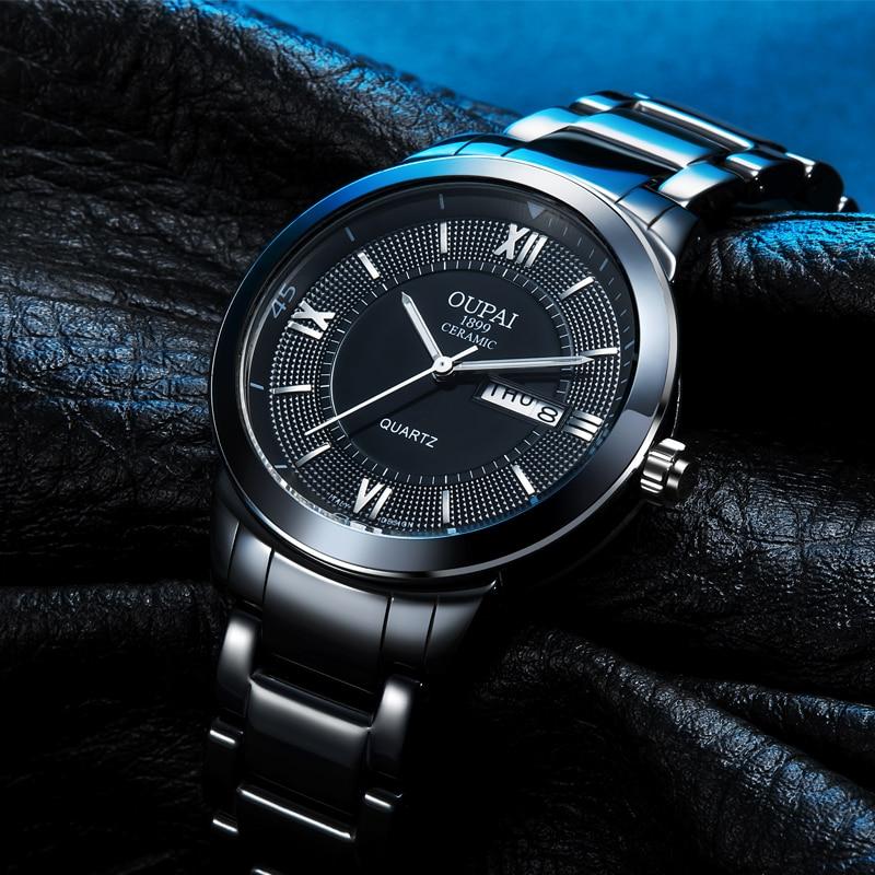 OUPAI Fashion Mens Creamics Band Sport Quartz Wrist Watches Analog Display Black Watch for Man with Calendar 2015