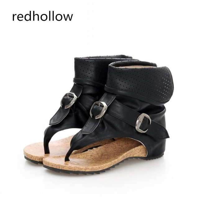 Hoge kwaliteit Romeinse Sandalen Cool Clip Teen Platte Laarzen 2018 Mode Vrouwen Zomer Laarzen Holle Enkellaarsjes Gesp