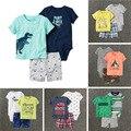 NOVO 2017 roupas de bebê menino definir moda Bebê Dos Desenhos Animados Verão Roupas dos meninos 3 pcs Define Meninos Roupas de Manga Curta Crianças Terno bebes