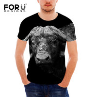 FORUDESIGNS African Buffao Printing Men T Shirts Cool Style Short Sleeve Top Tee Shirt Male Summer Round Neck Homme Gyms Tshirt