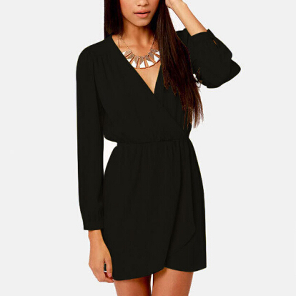 Fashion Surplice Elastic Waist Casual Women Dress Black