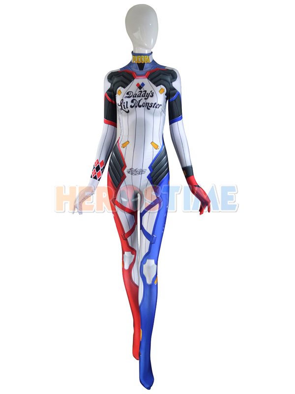 Harley D.VA Costume D.Va Mixed Harley Skin Cosplay Suit Spandex Print  Game cosplay Costume Tight Zentai Suit