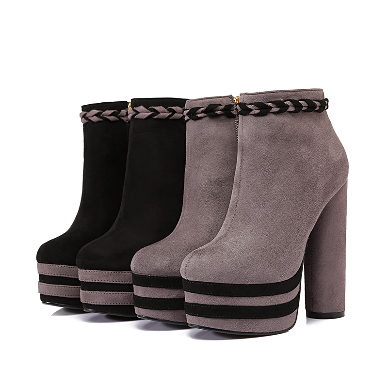 Newly arrival woman boots thick heel high heels winter shoes high platform Two colors can choose concise but elegant