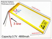 3 Line 3263156 3 7V 4800mAh Rechargeable Li Polymer Li Ion Battery For 8 Inch 9inch