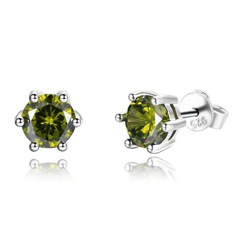Female Ear Studs 925 Sterling Silver Fine Jewelry Round AAAAA Green Zircon Wedding Engaging Party Gift