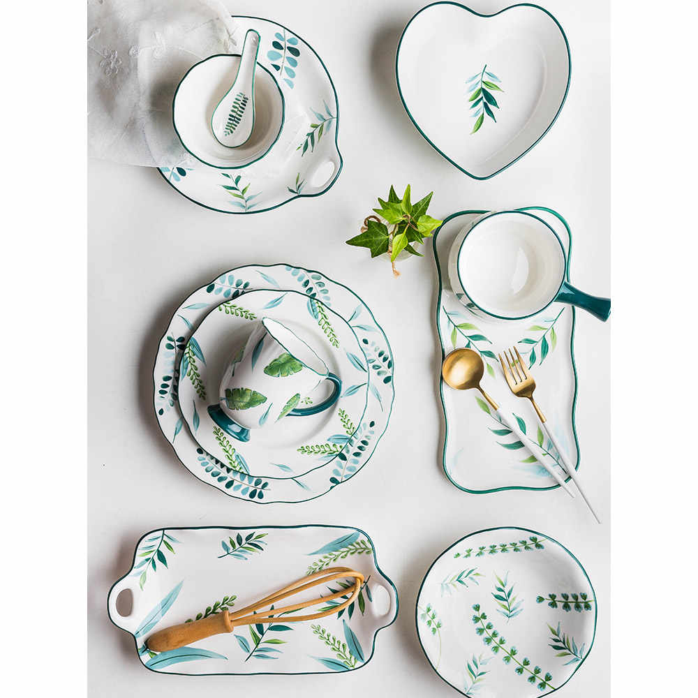 8 inch ceramic dinner plates plant leaves Leaf printed under glazed porcelain mug cups bowls dishes and plate cutlery tableware