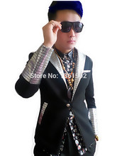 Korea black blzer silver crystals males's ds dj male singer dancer efficiency outerwear costume coat jazz present slim jacket outfit