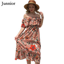 Junnior Summer Bohemian Holiday Dress Female Chiffon Layered Slash Neck Beachwear Women Floral Frilled Peplum Dress Modis Femme frilled trim asymmetrical layered hem dress