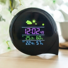 Buy online Wireless Comma Weather Station Color LED Indoor Outdoor Home Electronic Thermometer Hygrometer Smart Weather Calendar Clock