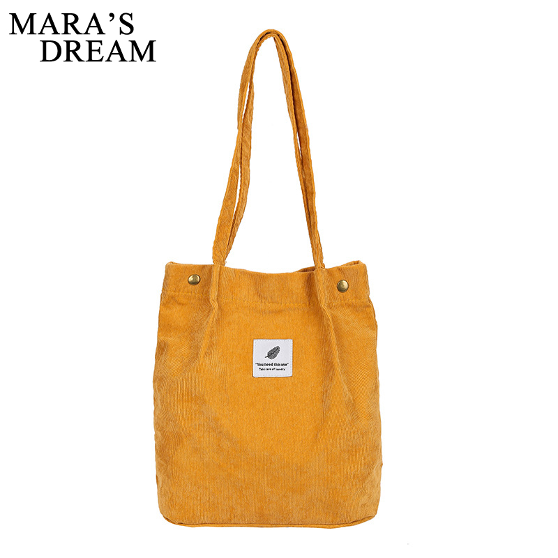 Mara's Dream Solid Corduroy Shoulder Bags Environmental Shopping Bag Tote Package Crossbody Bags Purses Casual Handbag For Women