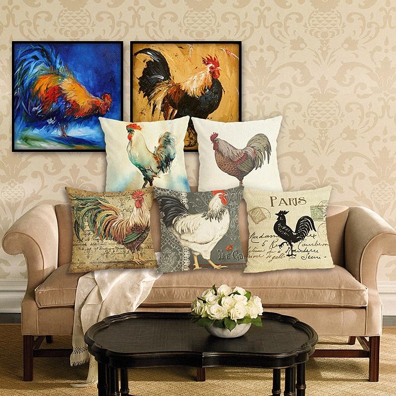 Jauns mājas dekoru vistas drukāts spilvena segums lina spilvenu dekoratīvais mest spilvenu vāks dīvānam 45x45 cm dīvāns spilvenu