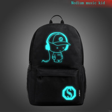 Music Kid Computer Bag Middle School Student Bag Men's Luminous  Outdoor Backpack Korean Casual Backpack yulo new washable canvas bag usb printing middle school student bag retro men s shoulder computer backpack
