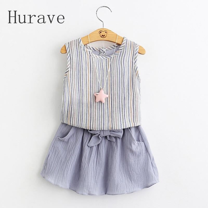 Hurave 2017 new girls skirt summer cute kids clothes clothing striped T-shirt + skirt little girls dresses toddler clothing sets