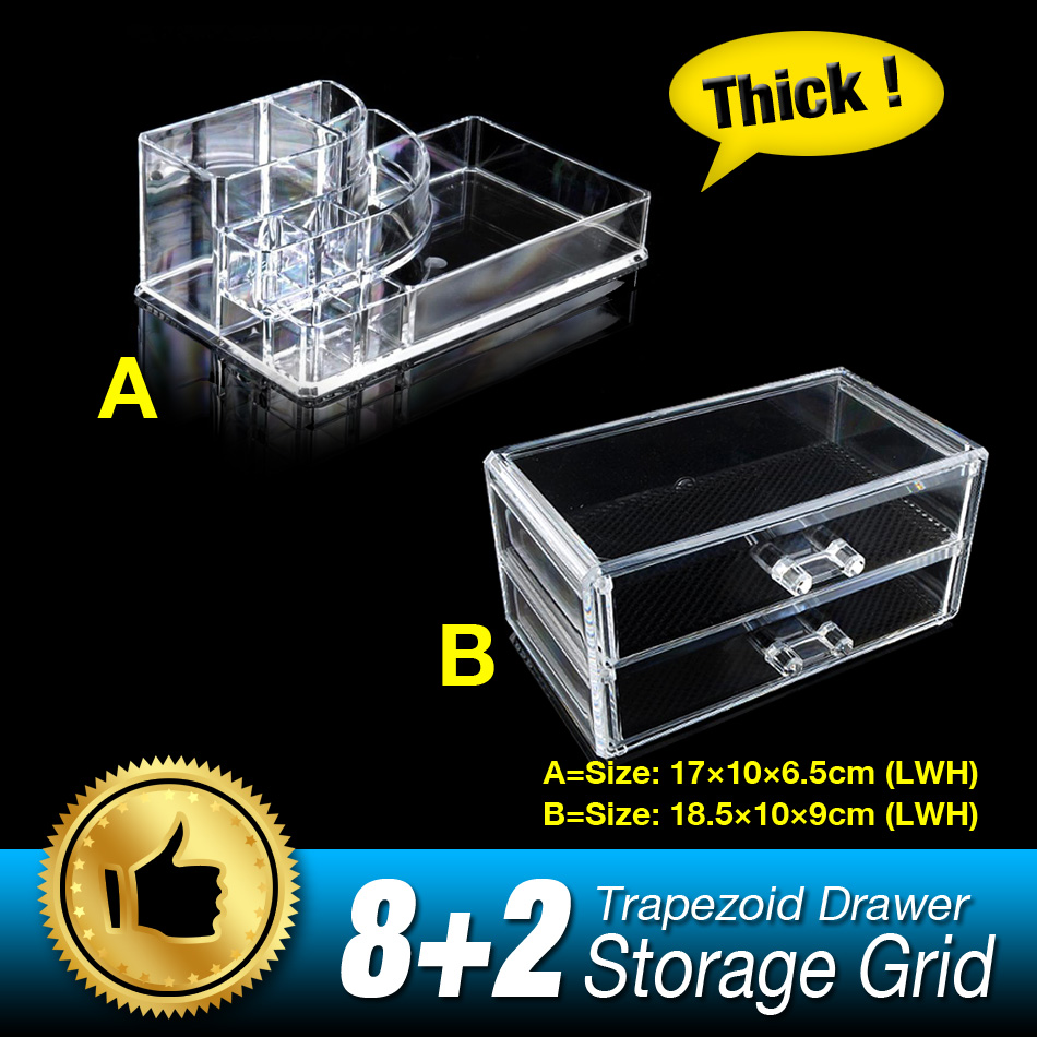 10 Grids 3 Layer Drawers Makeup Case Storage Box Organizer Sundry jewelry Skin Care Display Stand Clear Acrylic Set EQC387 acrylic cosmetics makeup and jewelry storage box 3 small drawers space saving
