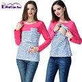 Emoção mães tarja de manga comprida t-shirt tops para as mulheres grávidas gravidez roupa de maternidade amamentação enfermagem clothing tees