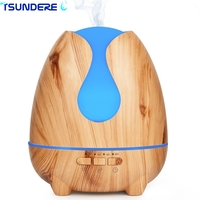 TSUNDERE L 500ml Aroma Essential Oil Diffuser Ultrasonic Aromatherapy Diffuser Wood Grain BPA Free With 7