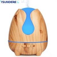 TSUNDERE L 500ml Aroma Essential Oil Diffuser Ultrasonic Aromatherapy Diffuser Wood Grain BPA Free With 7