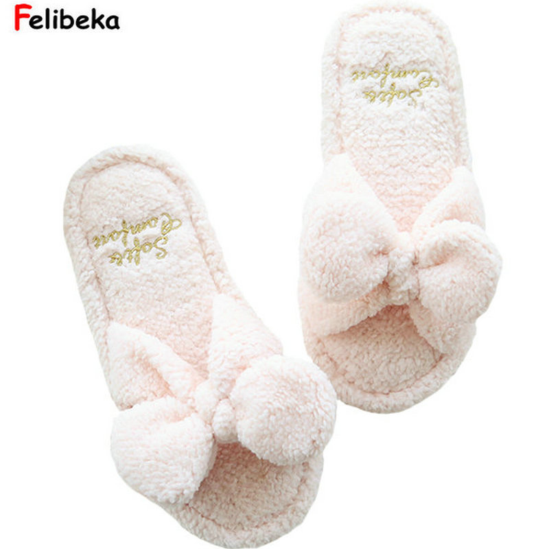купить One size Spring/Autumn cartoon bow pink slippers for women Indoor letter plush slipper white дешево