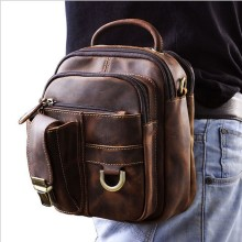 Star-Genuine Leather Waist Packs Bag Men Leather Thigh Bag Motorcycle fashion Waist Leg Pouch