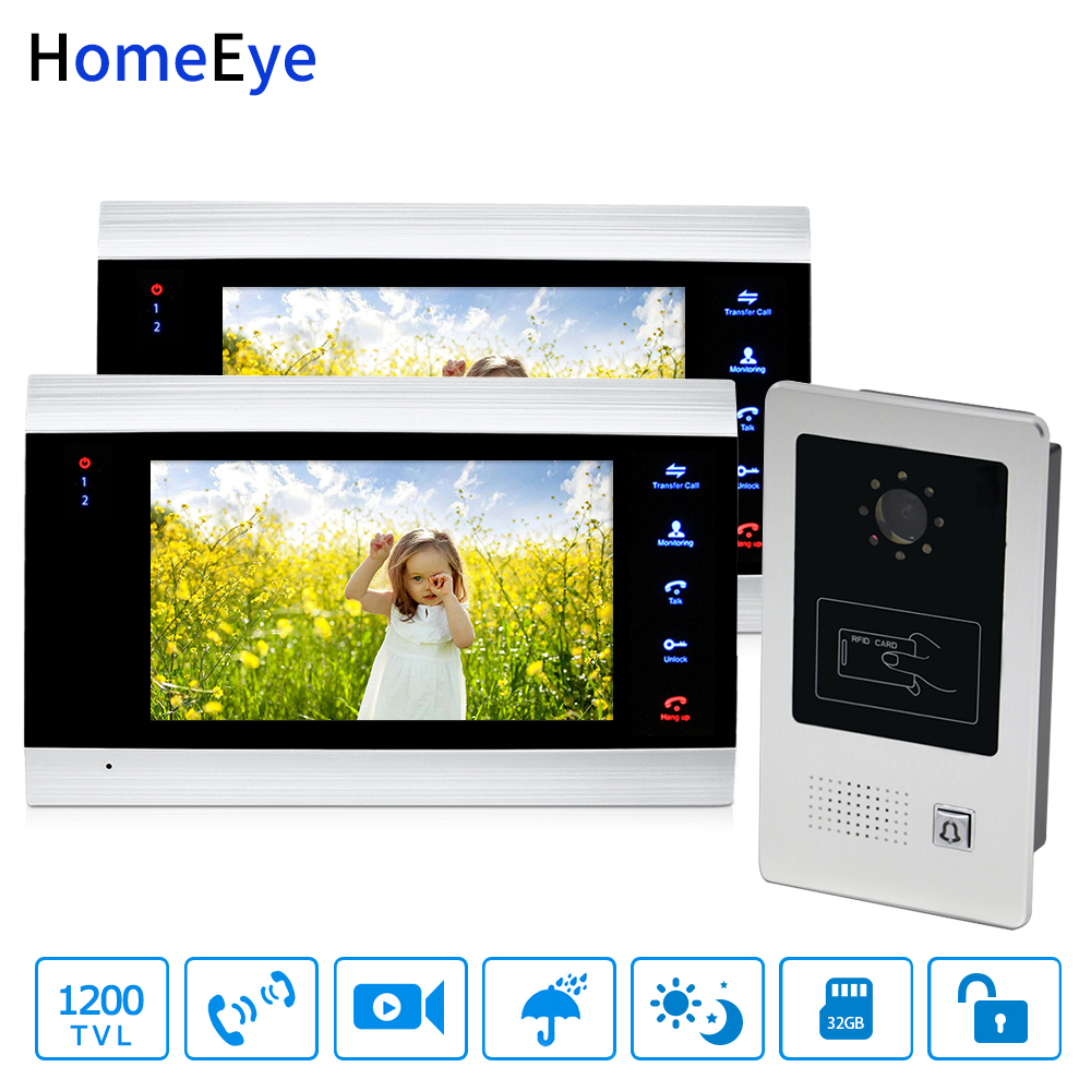 HomeEye 7'' Home Access Control System 1-2 Video Door Phone Video Door Bell 1200TVL Rainproof RFID Motion Detection Touch Button