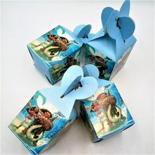 6pcs/set Funny Moana Party Supplies Candy Box Case Gift Kids Birthday Favor Accessory Decoration Favors