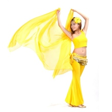 2019 New High Quality Women Belly Dancing Accessories Chiffon Yarn Scarf 2.5*1.2m Solid Colour Belly