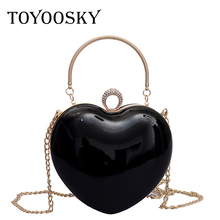 TOYOOSKY Heart Shaped Diamonds Women Handbags Chain Shoulder Bag Purse Day Clutches Crossbody Evening Bags For Party Wedding gold rhinestone bride evening bags diamonds wedding handbags women party silver day clutches mini prom gold purse bag with chain