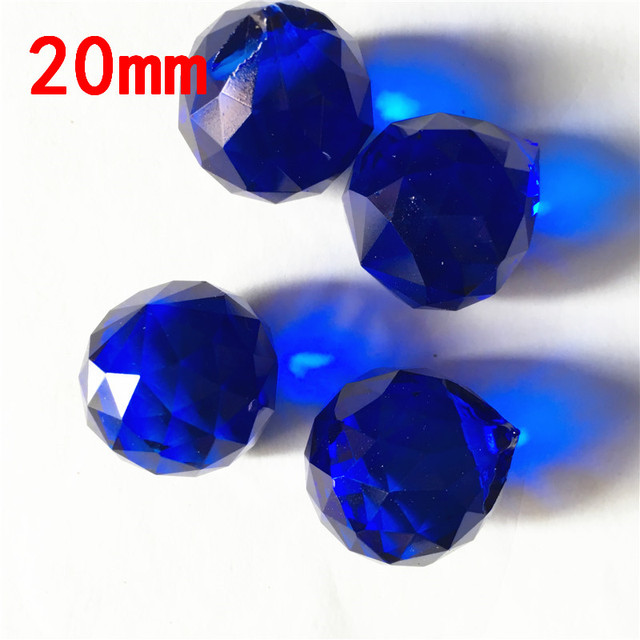 Dark Blue 20pcs 20mm Glass Round Chandelier Hanging Parts Curtain Accessories Pendants For Home Wedding