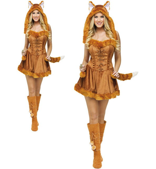 a7bccb8596cc Wholesale Girls Halloween Costume Furry fox animal Costumes With Fox Tail  For Party