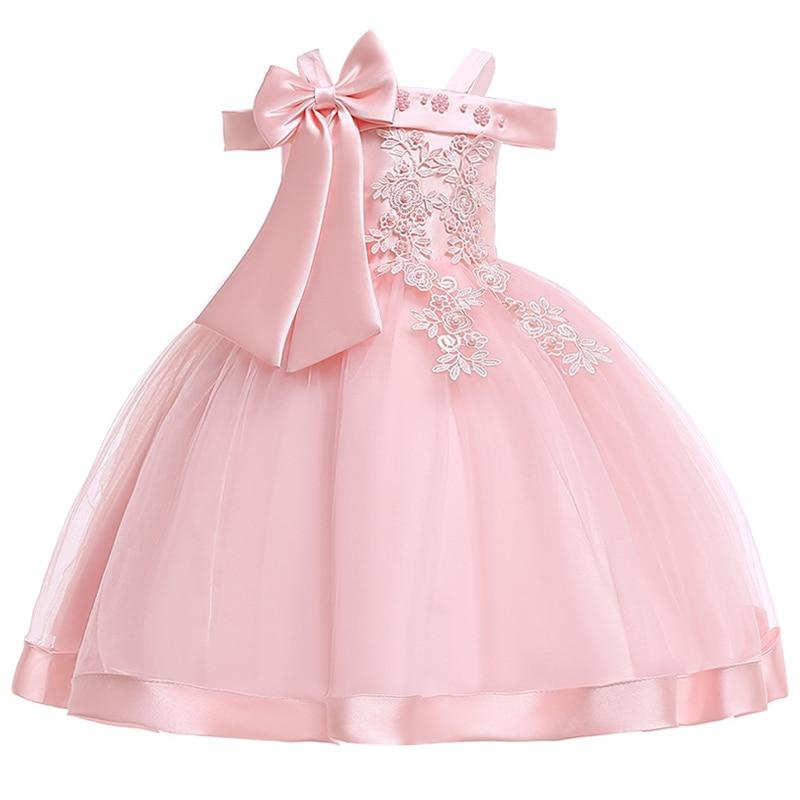 Новинка; стильное платье на бретельках с одним персонажем для свадебной вечеринки для девочек; бальное платье с бантом и жемчужинами и цветами для банкета; vestidos - Цвет: pink