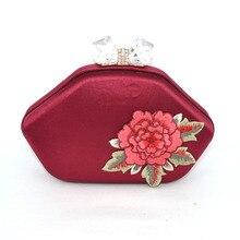 Mode pfingstrose Blume weinrot Luxus Clutch Abendtasche stickerei Partei Handtaschen Deep red Kristall schloss Hochzeit Kupplungen 825