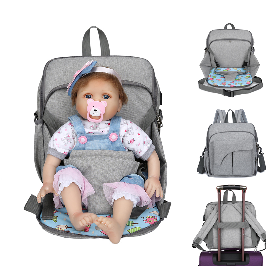 Waterproof USB Mummy Diaper Bag Dining Seat Pad Maternity Backpacks Mom Nappy 2 in 1 Mummy BackpackWaterproof USB Mummy Diaper Bag Dining Seat Pad Maternity Backpacks Mom Nappy 2 in 1 Mummy Backpack