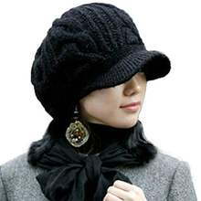 Women Winter Knit  Cable Newsboy Cap  Warm Beanie Hat with Visor Female Knitted Flat Caps