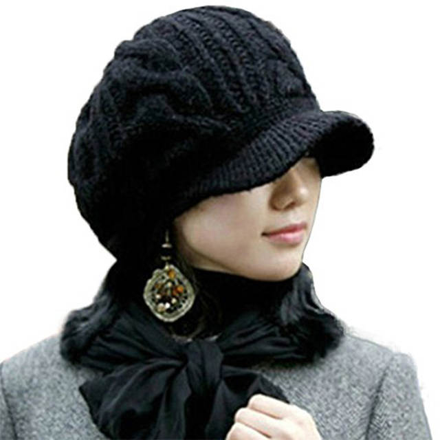5ff644184 US $4.65 5% OFF|Women Winter Knit Cable Newsboy Cap Warm Beanie Hat with  Visor Female Knitted Flat Caps-in Women's Newsboy Caps from Apparel ...