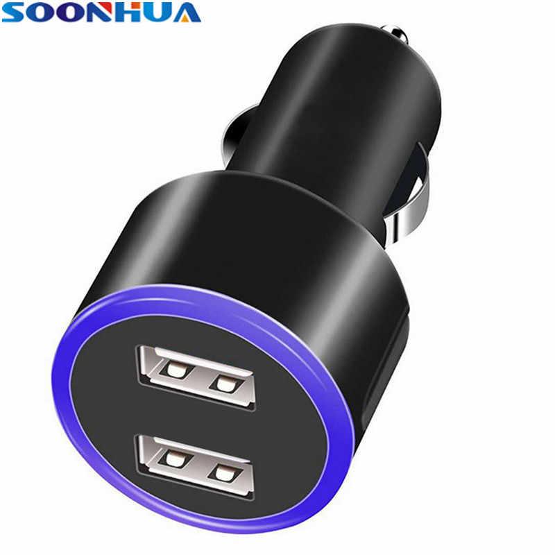 SOONHUA portátil de 5 V 2.0A cargador de coche USB Dual cargador inteligente de carga rápida corriente ABS Anti fuego adaptador para teléfonos computadoras portátiles tabletas