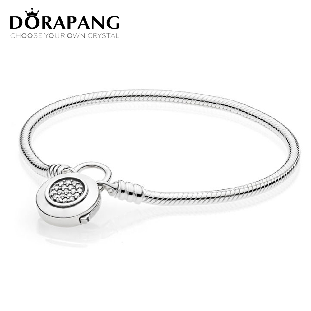 DORAPANG 100% 925 Sterling Silver Original Classic Logo Charm Lock Basic MOMENTS SMOOTH BRACELET WITH SIGNATURE PADLOCK DIY Bead 925 sterling silver bracelet logo signature padlock moments smooth snake bracelet bangle fit bead charm diy pandora jewelry