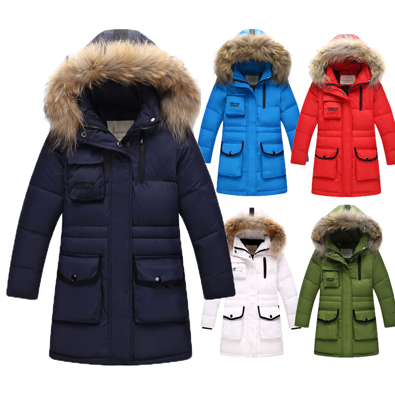 -35 degrees Russia Boy Winter down coat 2018 Boys Duck Down & Parkas Jacket Warm Thick Children Clothing Fur Hooded Jackets Coat