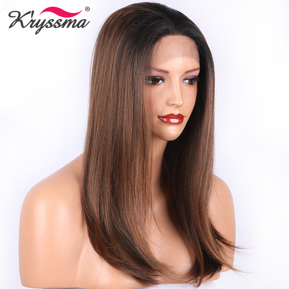 Brown Synthetic Lace Front Wig Natural Straight Two Tones Ombre Wigs for Women Black Roots Free