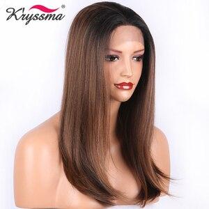 Brown peruca dianteira do laço sintético natural em linha reta dois tons ombre perucas para mulheres raízes pretas parte livre l peruca parte uso diário