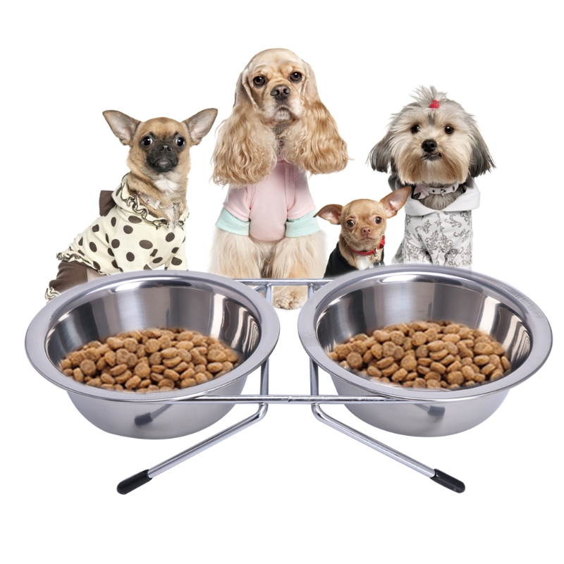 Dog Bowl Stainless Steel Double Pet Bowls Travel Water Food Feeding Feeder  Non Slip With Station For Puppy Dog Cat Supplies C42