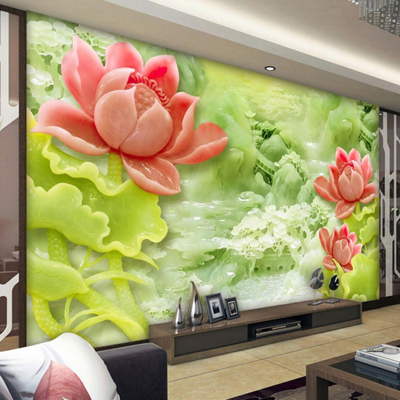 Custom 3D Mural Wallpaper Jade Carving Lotus Modern Chinese Style Living Room TV Background Wall Decor Painting Photo Wallpaper