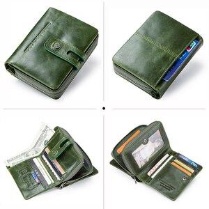 Image 4 - Контакта кошелек для женщин на молнии из натуральной кожи; Короткие женские кошельки высокое качество, Женский кошелек, кнопка застежка кошелек с отделением для кредитных карт держатель
