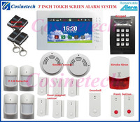 Personalized alarm kit 7 inch touch screen 868MHZ FSK Smart home security GSM alarm system supported IP camera&appliance control