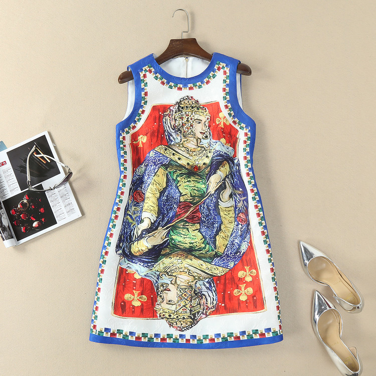 European and American womens wear in 2018 The new spring clothing sleeveless Nail bead CARDS printed jacquard dress