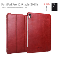 Genuine Leather Cover For iPad Pro 12.9 2018 Vintage Cowhide Leather Case Foldable Stand Smart Case For 2018 iPad Pro 12.9''