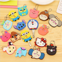 Cartoon Anime beautiful Silicone hello Kitty and Minnie key fashion owl key cover key chain key ring keychain women present